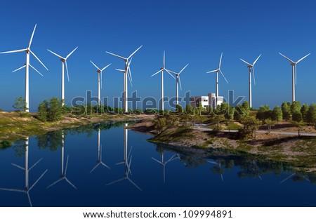 The wind generators  on green landscape. - stock photo