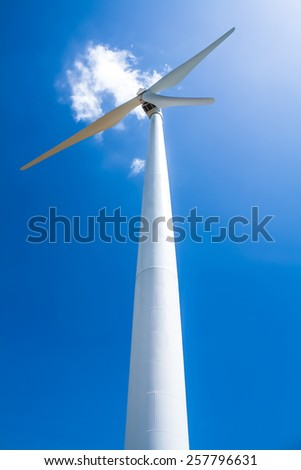 The wind turbine generator,the renewable energy - stock photo