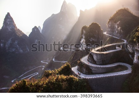 The winding road of Tianmen mountain national park, Hunan province, China - stock photo