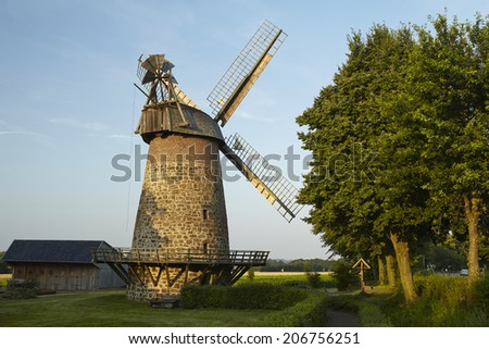 The windmill Eilhausen (Luebbecke, Germany) is a dutch type of windmill and is part of the Westphalia Mill Street (Westfaelische Muehlenstrasse).