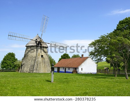 The Windmill in Kuzelov (Kuzelau), Czech republic. The so-called Dutch type mill, built in the 1842