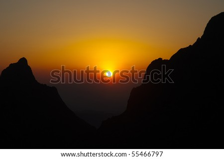 The Window at sunset in the Chisos Mountain Basin - stock photo