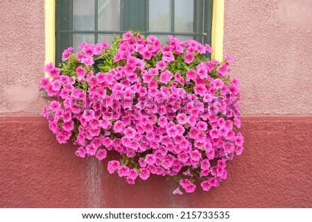 the window of the house to the river - stock photo