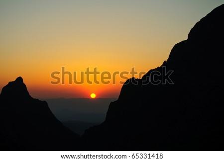 the Window overlook at sunset - stock photo