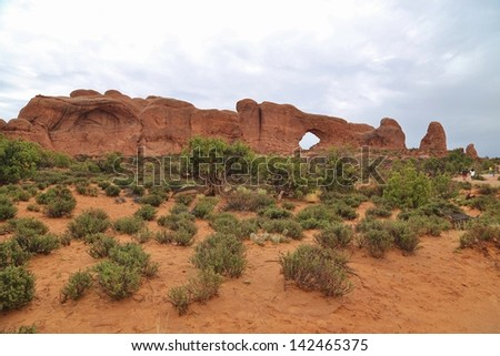 The Windows at Arches National Park in Utah, USA - stock photo