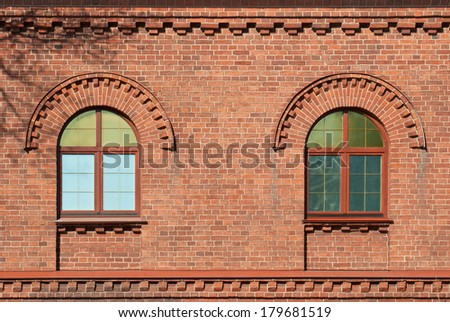 The Windows of the house from a red brick. From the series window of Saint-Petersburg. - stock photo