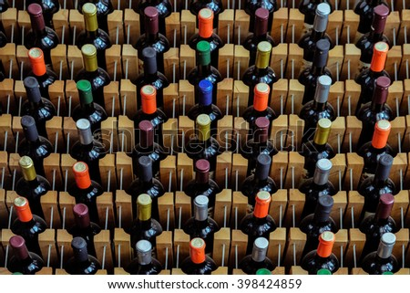 The wine shelves at wine house - stock photo