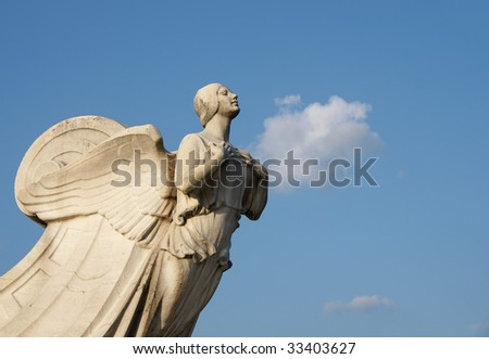 The winged statue - Democracy - located in Washington DC. - stock photo