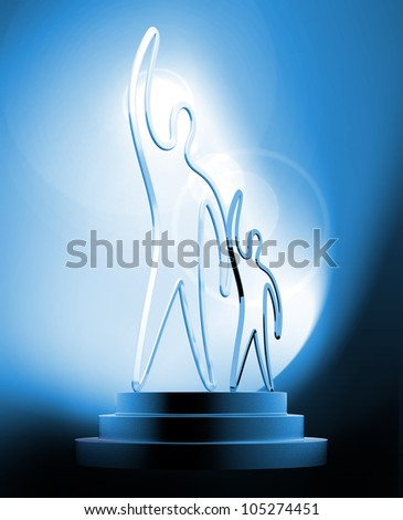 The winner trophy with a flare on a blue background - stock photo