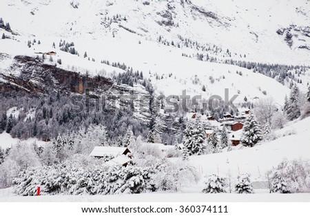 The winter Alpine ski resort - stock photo