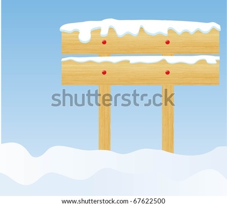 the winter background with wooden billboard (vector version in portfolio) - stock photo