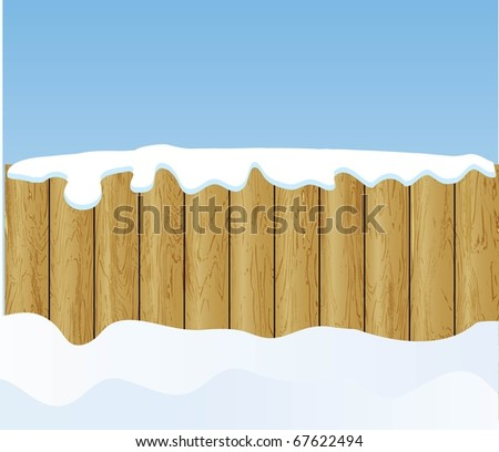 the winter background with wooden fence (vector version in portfolio) - stock photo