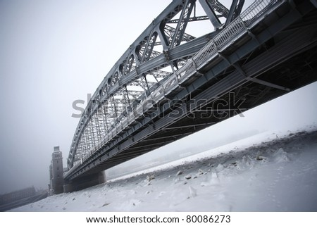 The winter bridge of Piter the Greate - stock photo