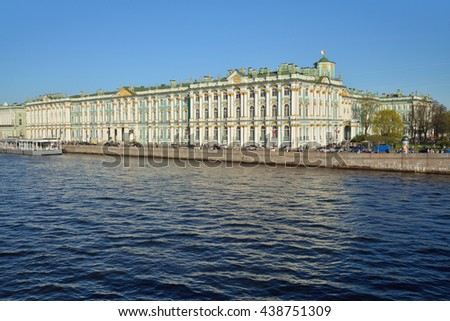 The winter Palace and pier on the Palace embankment clear day in summer in Saint-Petersburg  in May