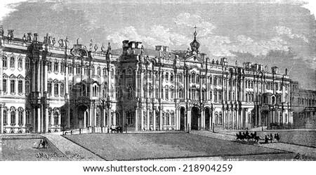 The Winter Palace in Saint Petersburg, vintage engraved illustration. Le Tour du Monde, Travel Journal, (1872).  - stock photo