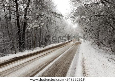 the winter road - stock photo