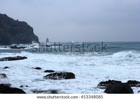 The winter Sea of Japan of (Shakotan Peninsula) getting furiously angry