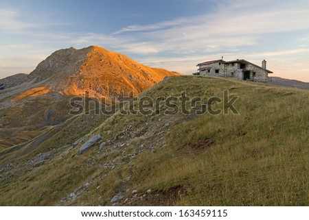 The winter shelter of Vardousia mountain, central Greece, during the early morning