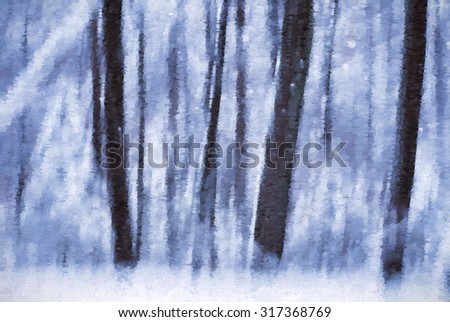 The winter woods of the Poconos of Pennsylvania transformed into a colorful digital painting - stock photo
