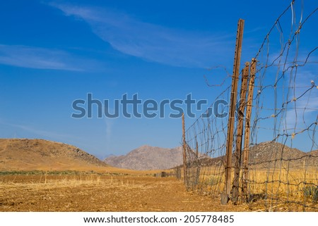 The wire fence line.