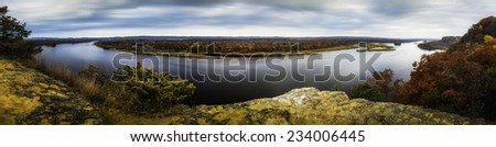 The Wisconsin River from Ferry Bluff - stock photo