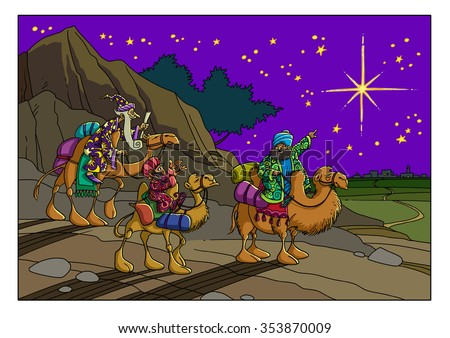 The wise men saw the star and go to Bethlehem to worship Jesus (a Christmas Story)