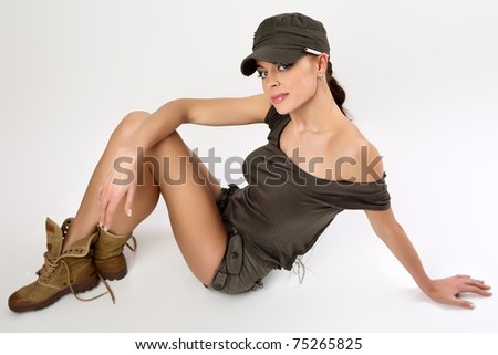 The with  cigarette in a military uniform. - stock photo