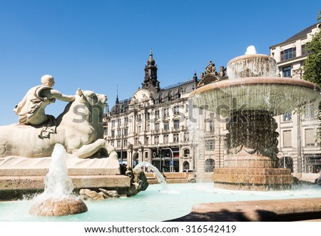 The Wittelsbacher Brunnen at the Lenbachplatz in Munich. The fountain was built 1895 by Adolf von Hildebrand. - stock photo