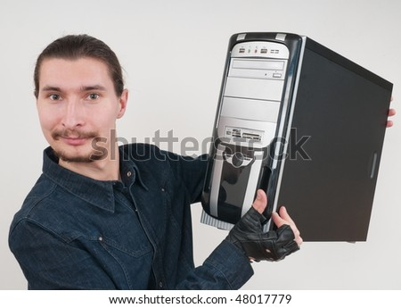 The wizard the adjuster, the expert in assemblage and repair of computers. - stock photo