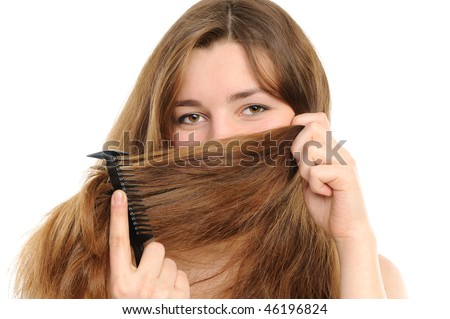 The woman covering with hair a nose and lips