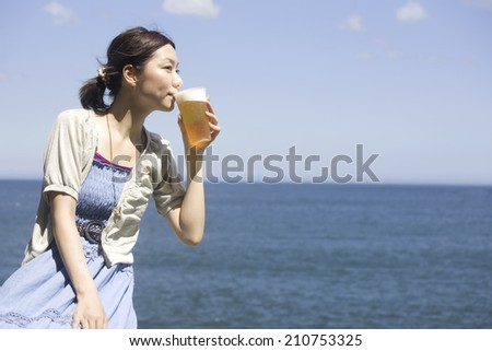 The Woman Drinking Beer