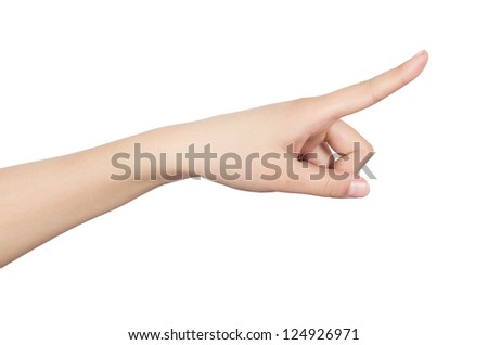 The woman finger touch gestures