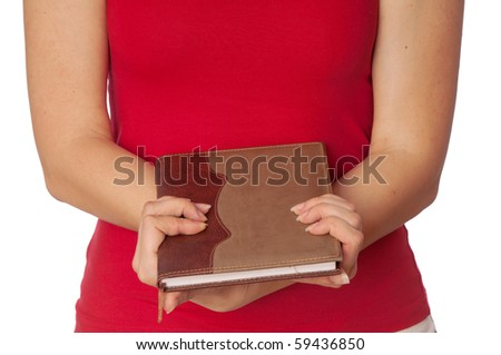 The woman holds the business book for notes - stock photo
