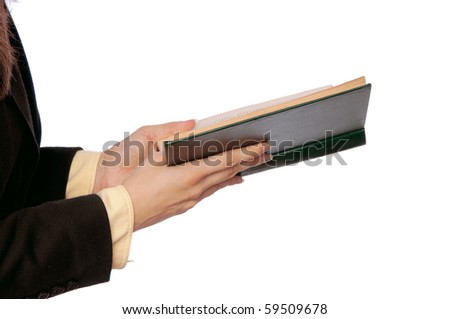 The woman in a business suit, read old business books for notes - stock photo