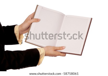 The woman in a business suit, shows blank pages of business book's for notes - stock photo