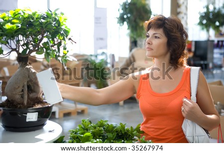 The woman in flower shop