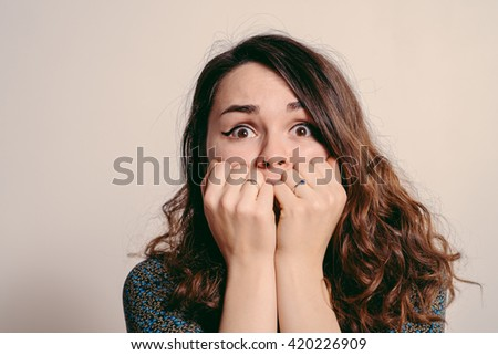 The woman is afraid of fear - stock photo