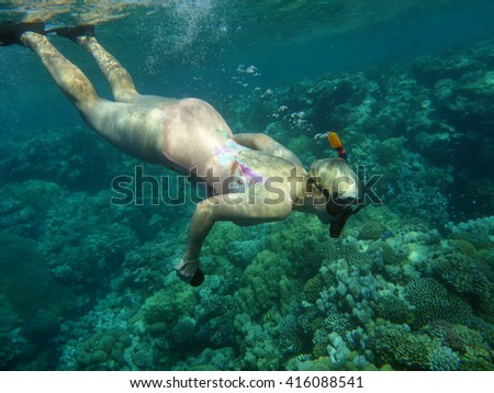 Woman fond underwater photography fishes stock photo edit now the woman is fond of underwater photography of fishes publicscrutiny Image collections