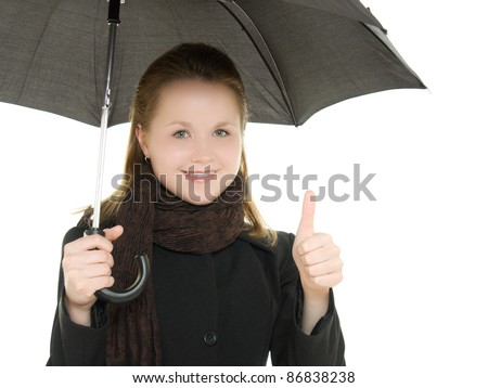 The woman is well under an umbrella on a white background. - stock photo