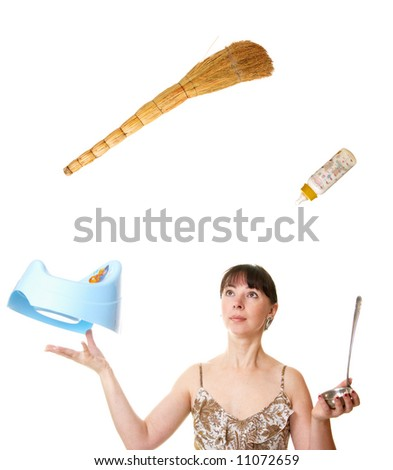 The woman juggles with different subjects - stock photo