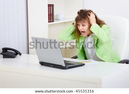 The woman - manager, frightened financial market conditions - stock photo