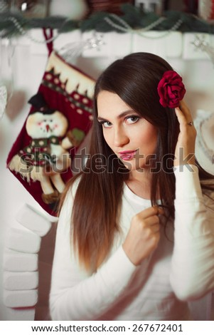 The woman meets new year. - stock photo