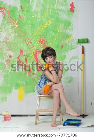 The woman-painter - stock photo