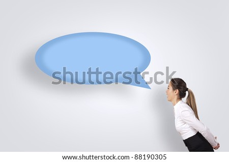 the woman said, her words displayed as a symbol of conversation - stock photo