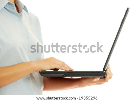 The woman shows a computer which at it on hands