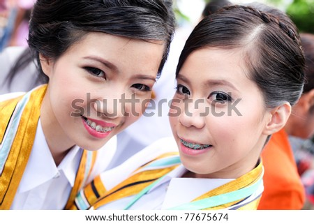 the woman smile in congratulations day,thai congratulations day, woman thai.
