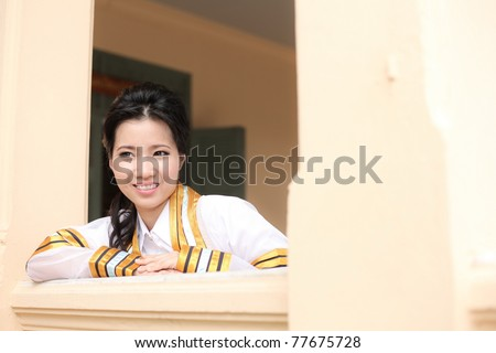 the woman smile in congratulations day,thai congratulations day, woman thai. - stock photo