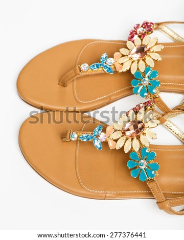 The woman summer sandals isolated on a white background - stock photo