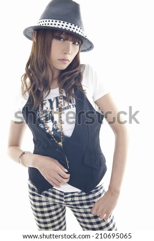 The Woman Wearing A Hat - stock photo