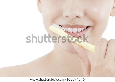 The woman who brushes her teeth - stock photo